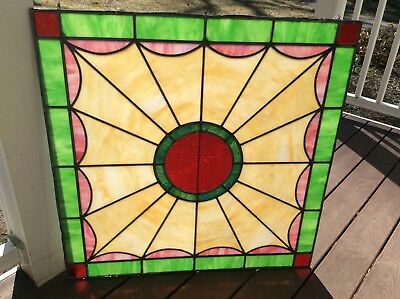 """Stained Leaded Glass Window 32"""" by 32"""". Nice color! Look...New  Lowest Price!"""