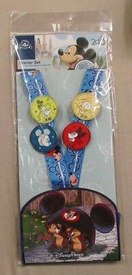 Disney Trading Pins 2018 Lanyard Starter Set of 4 - Mickey Minnie Goofy Donald