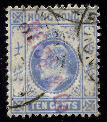 1904 Hong Kong 10c KEVII Sc#95 Used Reiss & Co. Security Overprint