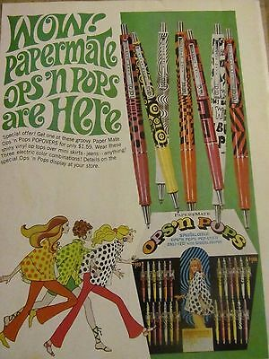 Papermate Ops and Pops Pens, Full Page Vintage Print Ad