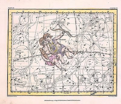 1822 ASTROLOGY ATLAS Print poster old old GEMINI twin constellation ZODIAC  23