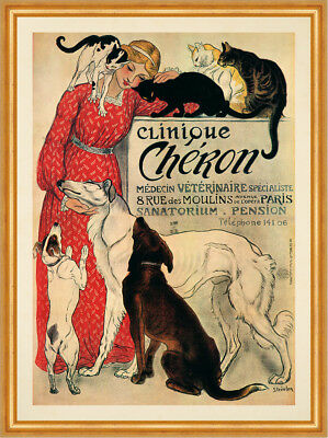 Clinique Cheron Medecin Veterinaire Jugendstil Pension Katzen Plakate A2 384