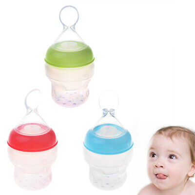 Infant Baby Silicone Feeding With Spoon Feeder Food Cereal HOT Bottle Rice E8X1