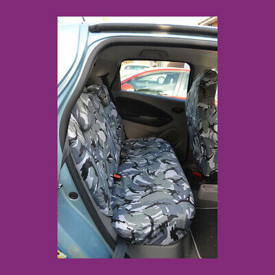 Renault Zoe 2012+ Tailored Waterproof Rear Bench Grey Camouflage Seat Covers