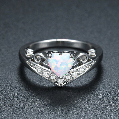 Opal Wedding Band.Heart Cut White Fire Opal Engagement Ring 925 Silver Womens Zircon Wedding Band