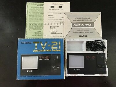 RARE Vintage CASIO TV-21 LIQUID CRYSTAL POCKET TELEVISION w/original box WORKS
