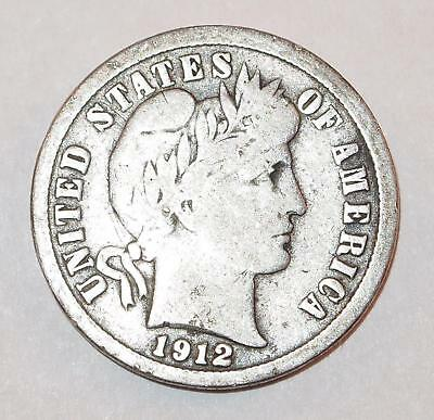 1912 BARBER LIBERTY HEAD Dime 10 Cents Ten Cent 90% Silver Coin