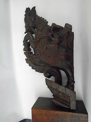 Stunning Vintage Indian Wooden Carving - Figures Riding Horse - Unusual