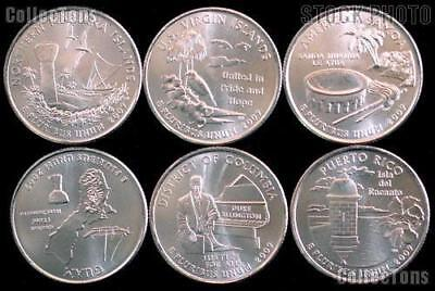 2009 P or D  DC and US Territories BU Quarter 6 Coins from US mint rolls Coins