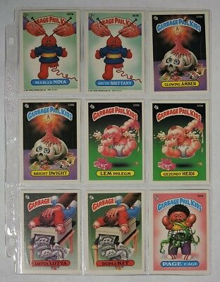 ESA1528 VINTAGE Set of 9: GARBAGE PAIL KIDS Sticker Cards 327A-331A Topps (1987)