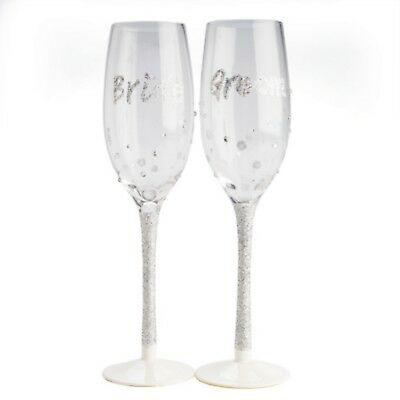 Bride Groom Glasses Toasting Wedding Gift Champagne Flute Glass Silver Glitter
