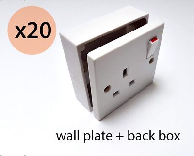 1 Gang 13A SINGLE WALL SWITCHED PLUG SOCKET Faceplate with back box pattress x20