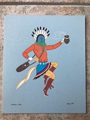 "Jerry Lee Hosteen Nez Navajo Original Gouache ""yei Be Chai""  Size 10.75"" X 9"""