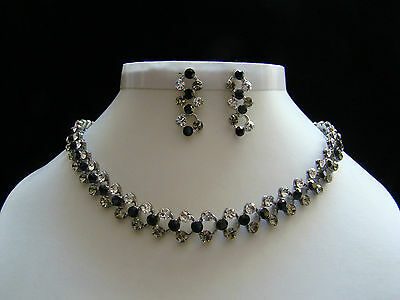 Fashionable Necklace & Earring Set Jet/Clear Crystal Bridal Jewelry N3003