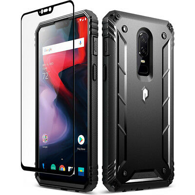 Poetic OnePlus 6 Rugged Case [Revolution] Heavy Duty Case With Tempered Glass BK
