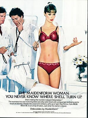 Print Ad~1982~Maidenform Woman~Delectables~Female Doctor~Bra & Panty~G200