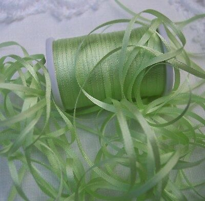 100% Silk Embroidery Ribbon 2Mm 25 Yard Spool Lt.moss Color
