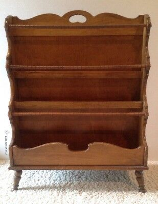 Vintage 29 Wooden 3 Tier Newspaper Holder Magazine Wood Book Display Rack Stand