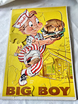 1950s Frisch's Bob's Big Boy Rare Puzzle Frame Tray Advertising Hamburgers VTG