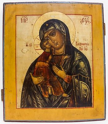 Old Antique Russian Icon of Vladimir Mother of God, late 19th century