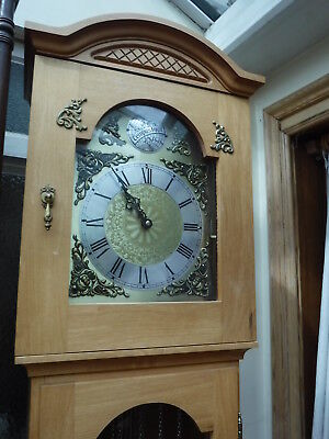 Grandfather Clock Pine Cased Hermle Westminster chiming with chime silent option