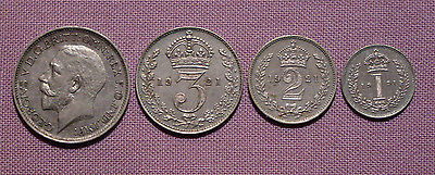 1921 ROYAL MINT KING GEORGE V SET MAUNDY COINS - 4d to 1d - SCARCE LOW ISSUE