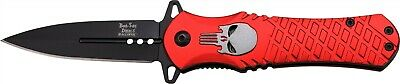 Dark Side Red Punisher Black Straight Assisted Folding Pocket Knife DS-A014RD