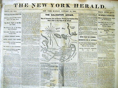 1863 Civil War newspaper with MAP Confederates win of BATTLE of GALVESTON Texas