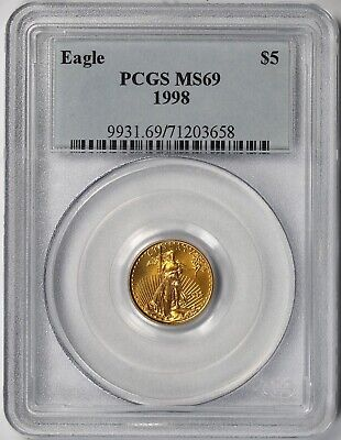 1998 Gold Eagle $5 Tenth-Ounce MS 69 PCGS 1/10 oz.
