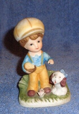 Vintage Knick Knack Figurine-Number on bottom is: 1430-V-Small Boy with Puppy