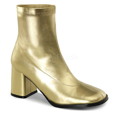 Gold 70s Disco 60s Hippie Shoes GoGo Dancer Mod Costume Ankle Boots Womans 7 8 9