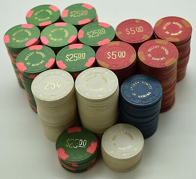 Set of 309 Valley School of Gaming 25¢-1-5-25-500 Poker Chips Las Vegas Paulson