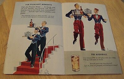 "VTG 1940's ADVERTISING Brochure~""PM WHISKEY""~Pleasant Moments~"