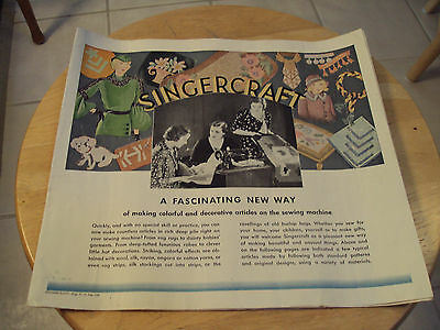 "Vtg 1933 Instruction Guide Brochure~""SINGERCRAFT""~Sewing Machine~Ephemera~Paper~"