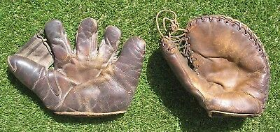 Vintage 1942-45 WW2 US Navy Baseball Glove plus First Base Mitt, Lot of 2 Gloves