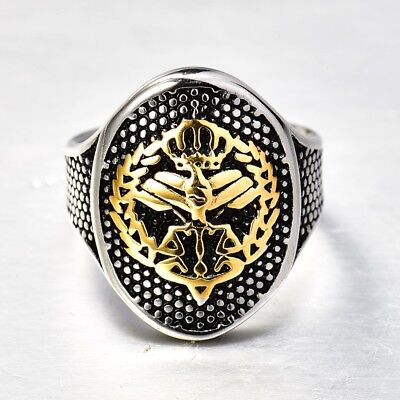 Heavy Solid Gold Stainless Steel Eagle Mens Gothic Punk Motorcycle Rings Band