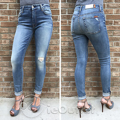 7 For All Mankind High Waist Distressed Super Skinny Jeans - Absolute Heritage 2