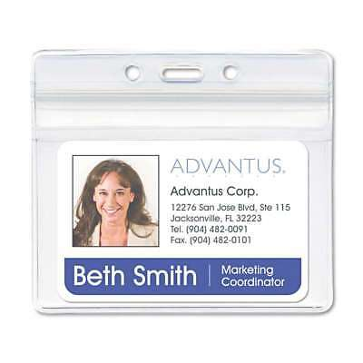 Advantus Resealable ID Badge Holder, Horizontal, 4 x 2 3/4, Clear 091141755232