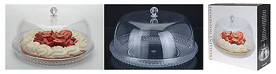 Large 33cm Clear Plastic Cake Dome Attractive Crystal Effect Plate with Cover