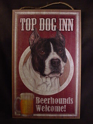 TOP DOG INN Welcome B&W PITBULL BEERHOUNDS SIGN wood BEER BAR PLAQUE black white