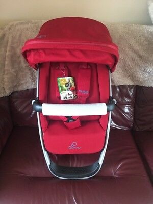 Quinny Buzz Xtra Red Seat Unit, XL Sun Canopy, Newborn Wedge, Extender Straps,