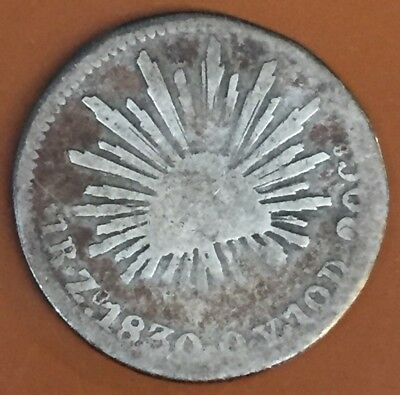 1830 Mexico 1 Reale One Real Silver Coin Mexican First Republic Original - TCC