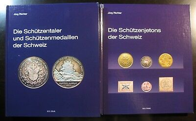 2 books Jürg Richter The Swiss shooting medals AND The shooting jetton IN GERMAN