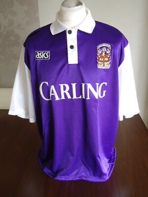 45c34dbbb36c STOKE CITY Original ASICS 1993 Purple   White Away Shirt XXL   2XL Adults  Rare