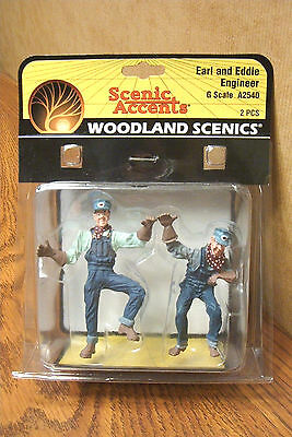 6WOODLAND SCENICS EARL and EDDIE ENGINEER G SCALE FIGURES