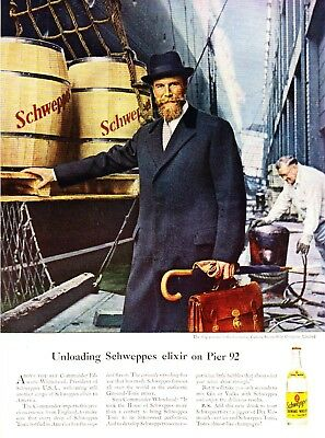 1958 Commander Whithead Cunard Carinthia Kegs of Schweppes Elixir photo print ad
