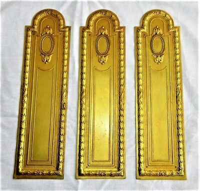 3 Art Deco Period French Brass Door-Push Finger Plates 8 3/4 In Length