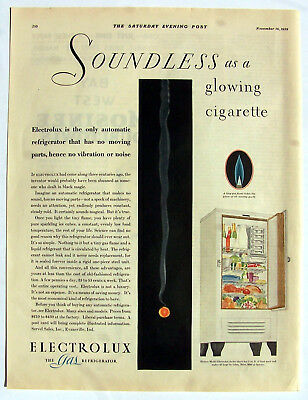 Electrolux Gas Refrigerator ad Soundless as a glowing Cigarette 1929