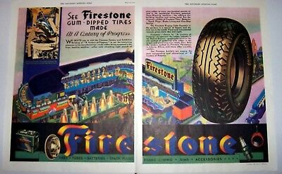 Print ad 1933 Firestone Tires Gum Dipped Tires Made at 'Century of Progress 2 pg