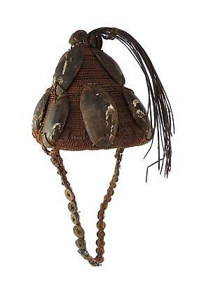 Lega Bwami Hat with Mussel Shells Buttons Congo African Art